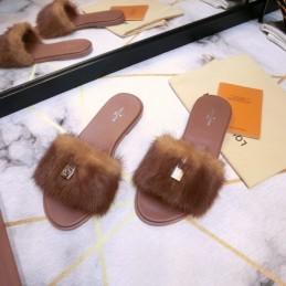 Replica Louis Vuitton Mink Slippers